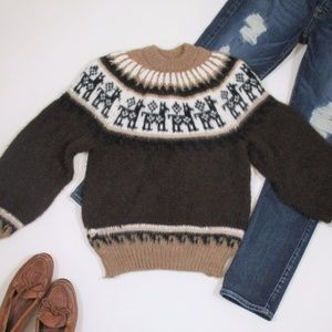 Llama Fair Isle Knit Pullover Sweater Brown S/M